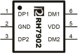 RH7902 双路USB充电兼容识别IC,USB兼容,USB兼容充电,USB充电兼容,USB识别,USB兼容识别,封装示意图