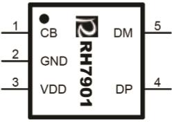 RH7901 单路USB充电兼容识别IC,USB兼容,USB兼容充电,USB充电兼容,USB识别,USB兼容识别,封装示意图
