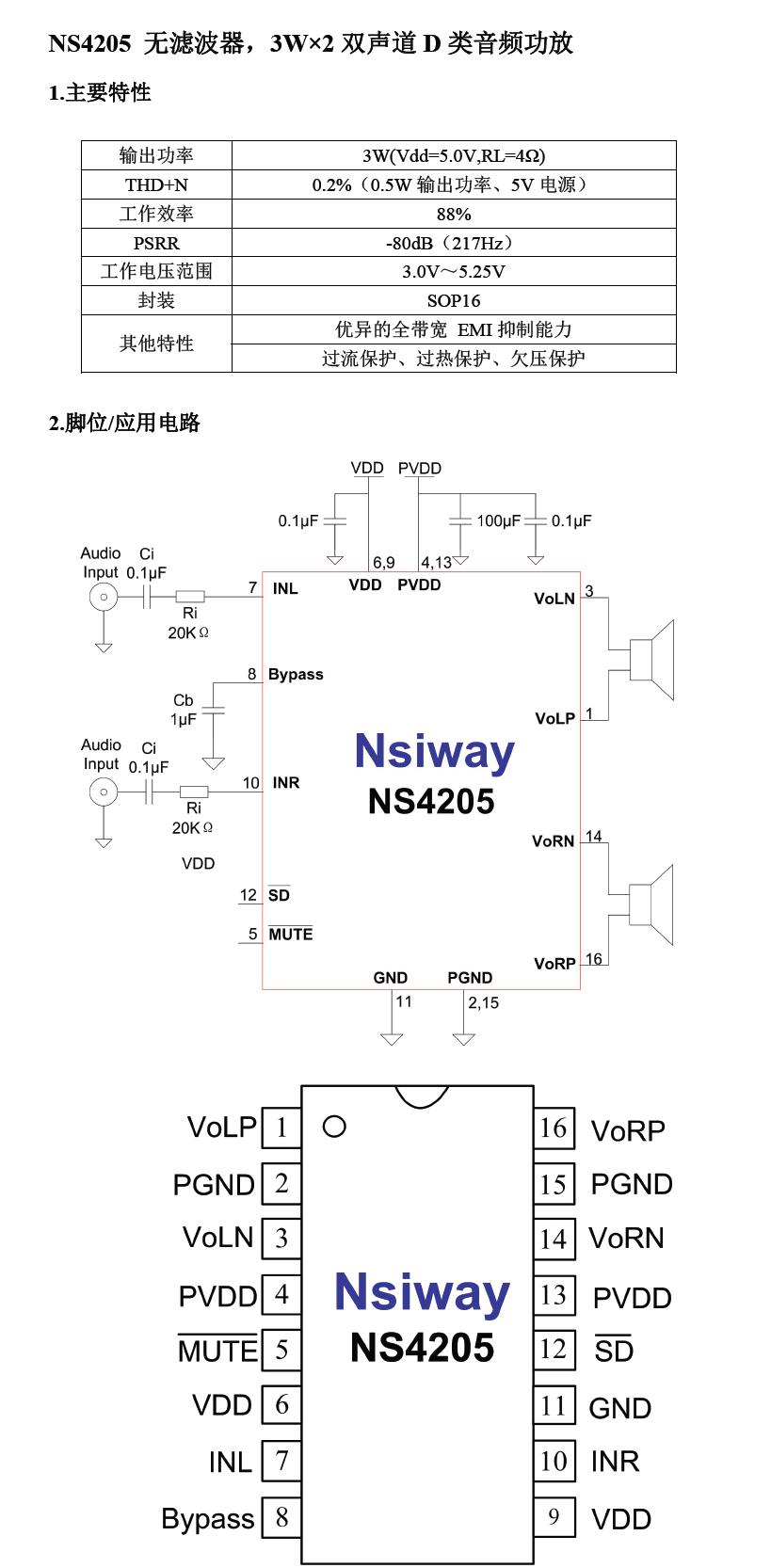 ns4205 无滤波器,3w×2双声道d类音频功放