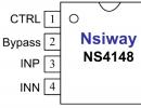 NS4148 超低EMI,无需滤波器3W单声道D类音频功率放大器