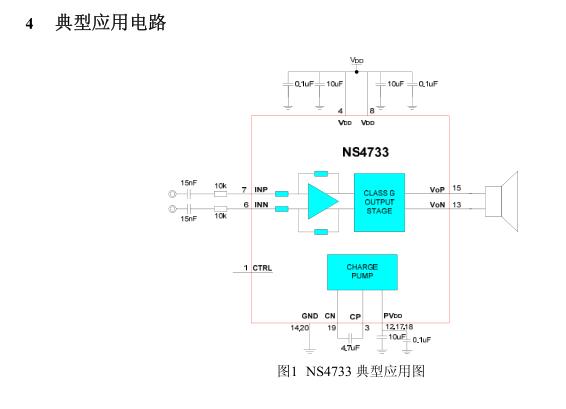 ns4733 2.1声道d类/g类音频功放 2w单声道g类音频功放