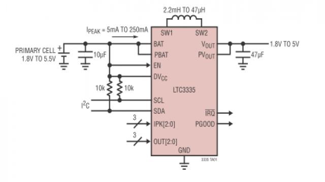 图 2:简化的 LTC3335 应用原理图