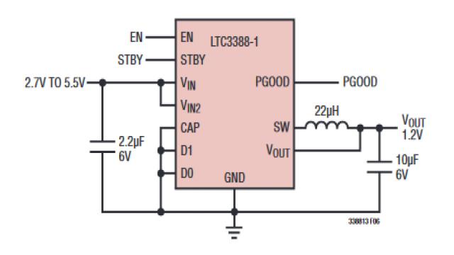 图 1:简便的 LTC3388-1 典型低压应用电路