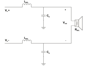 图6 免滤波调制方式d类音频功放的btl lc滤波